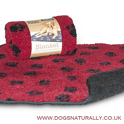 Red Fleece Dog Blanket - Pawprint Design