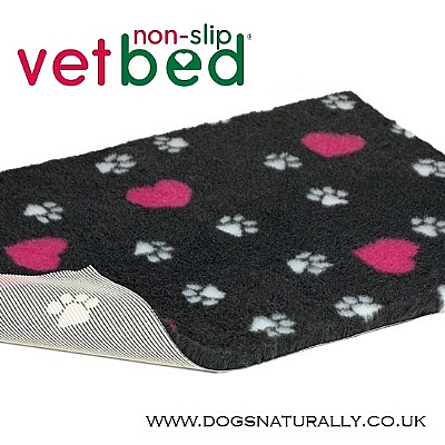 Charcoal with Pink Hearts & White Paws Vetbed 5x Sizes