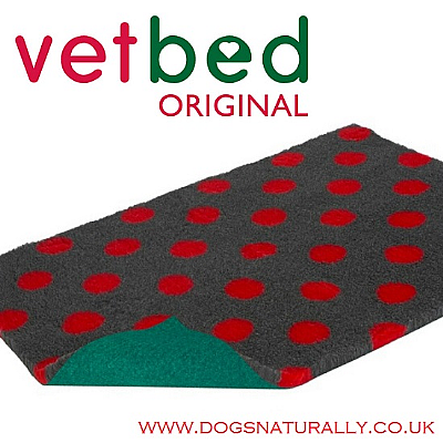 Charcoal with Red Polka Dot Vetbed Original (15 sizes)