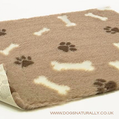 Mink Vetbed with Cream Bones & Brown Pawprints 5x Sizes