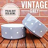 Vintage Grey Polka Dot Dog Bowl