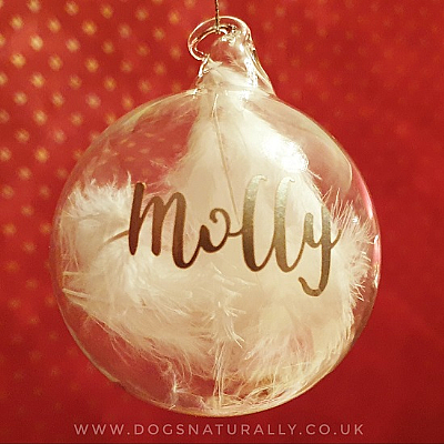 Memorial White Feather Glass Bauble